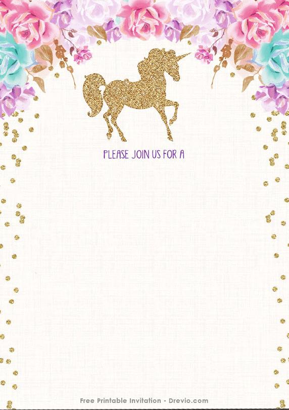 Cool Free Printable Golden Unicorn Birthday Invitation Template
