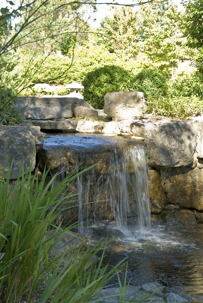 Waterfall landscaping detail 2 backyard water feature for Garden pond water features