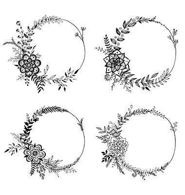 Set of floral wreaths vector  by Vodoleyka on VectorStock®