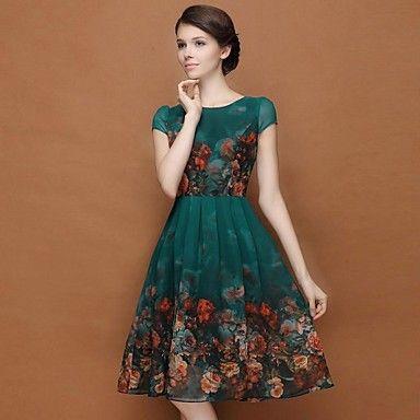 plus size vestido floral verde escuro das mulheres, balanço ocasional em torno do pescoço manga sopro de 2016 por R$91.4