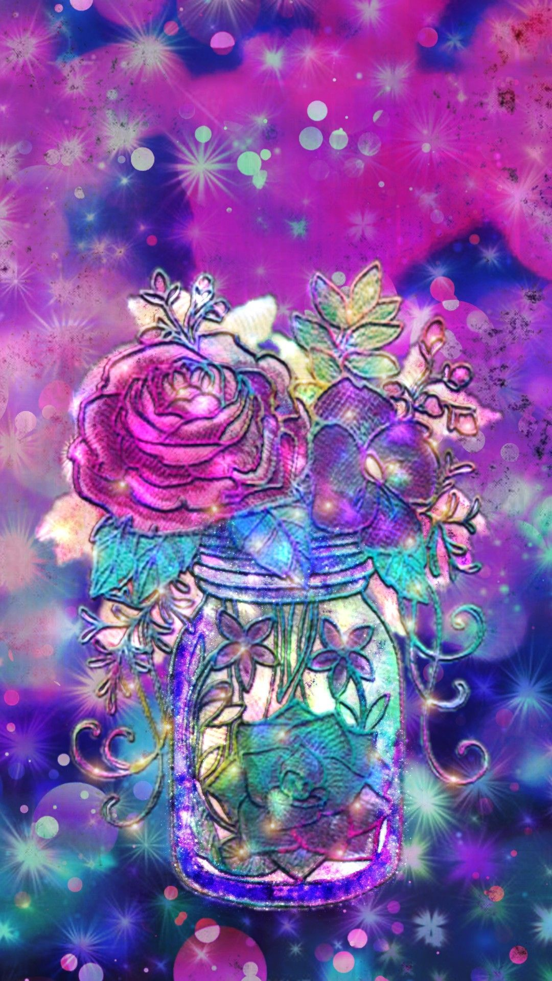Twinkling Flower Jar Made By Me Purple Sparkly Wallpapers Backgrounds Glitter Colorful Cool Backgrounds Wallpapers Glitter Wallpaper Glitter Background