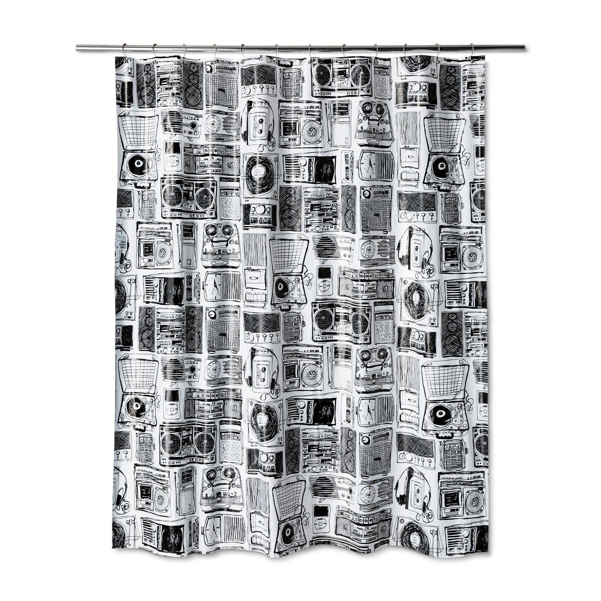 Retro Style Shower Curtain Black Room Essentials Room