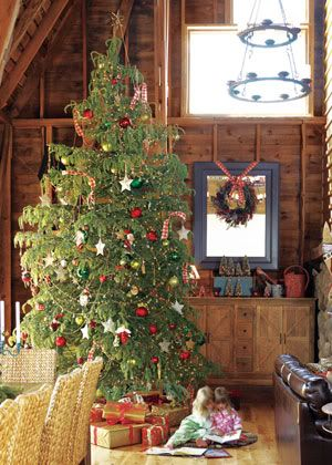 christmas tree log cabin romantic