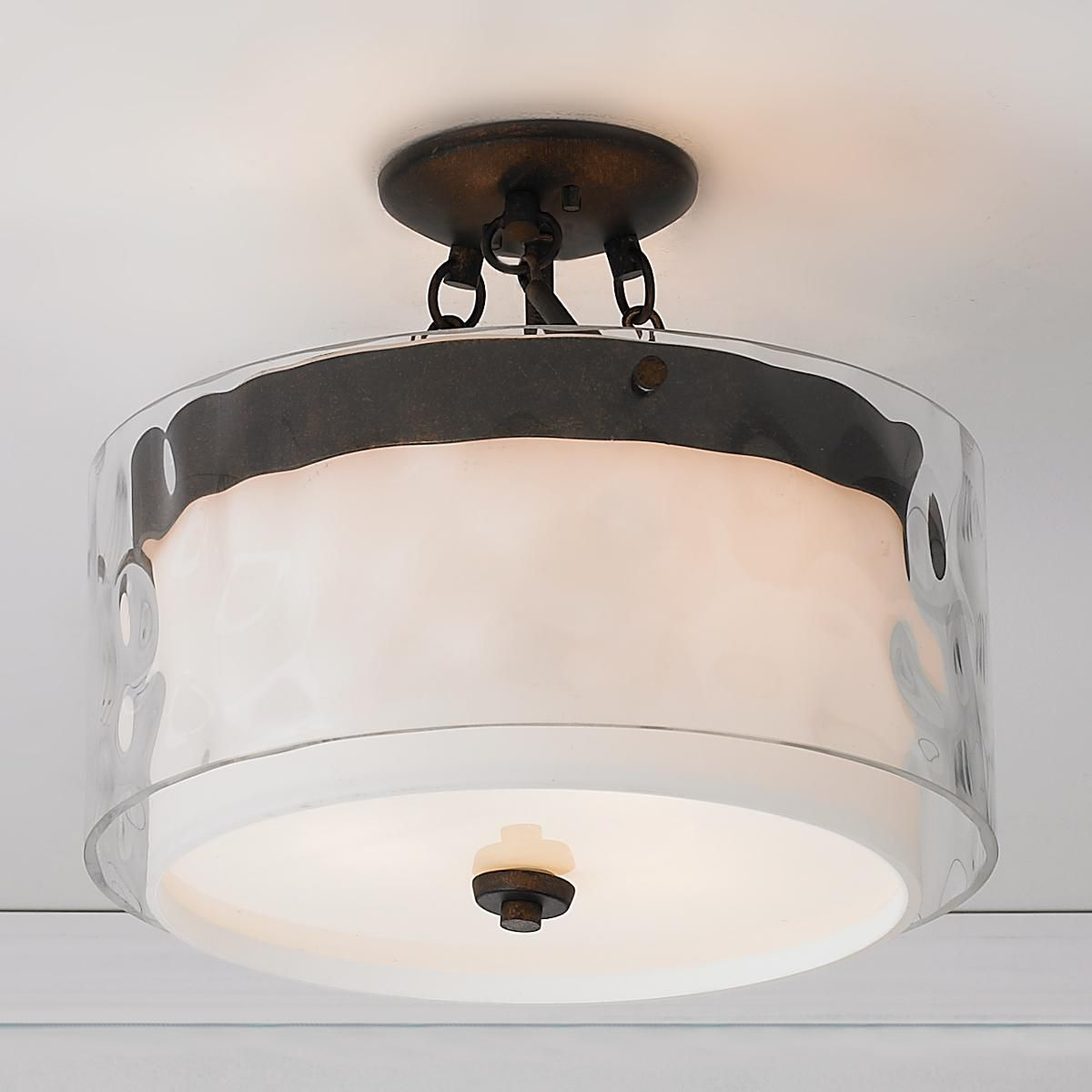Close To Ceiling Lights Extraordinary Layered Glass Drum Ceiling Light  Ceiling Drums And Glass Decorating Inspiration