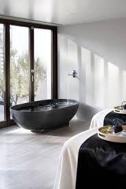 monochrome interiors - black bath, black windows, white floor - neat reversal of the norm