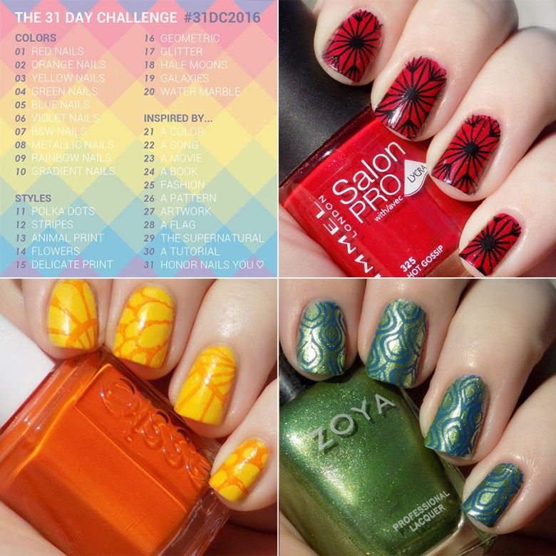 Days 1 through 4 of the #31DC2016 31 Day Challenge hosted by Chalkboard Nails