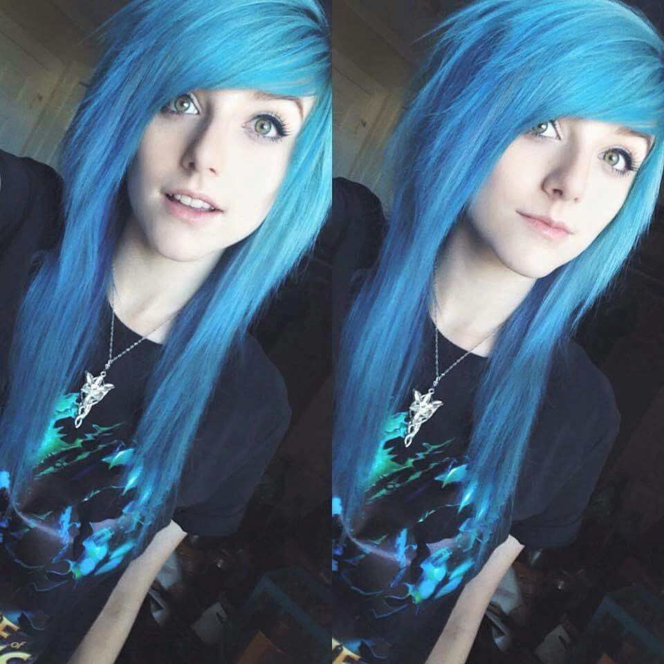 Pin By Walkerbriana On Alex Dorame Pinterest Blue Green Hair - Emo girl hairstyle video
