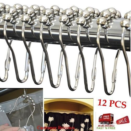 12 Polished Chrome Curtain Hook Rings Hanger Rod Roller Shower