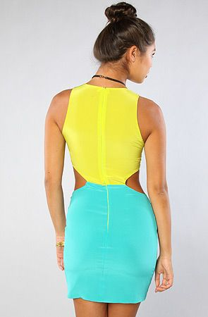 Naven The Two Tone Cutout Dress in Chartreuse and Turquoise : Karmaloop.com - Global Concrete Culture