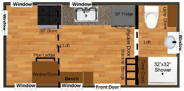Tiny House Plans For An 8x18 Lexington Tiny House