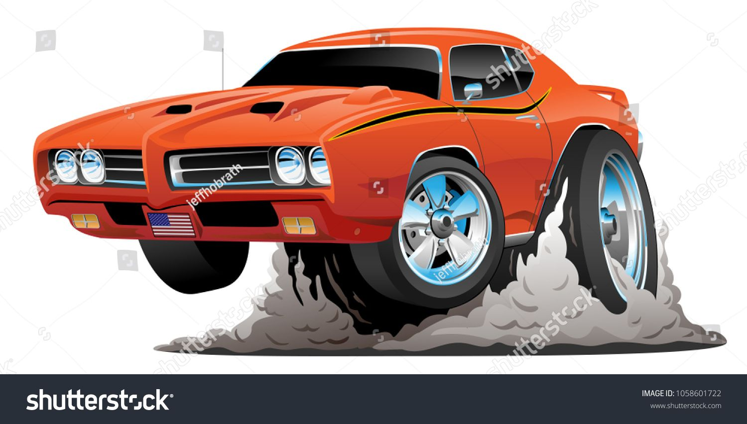 Classic American Muscle Car Cartoon Vector Stock Vector (Royalty Free) 1058601722
