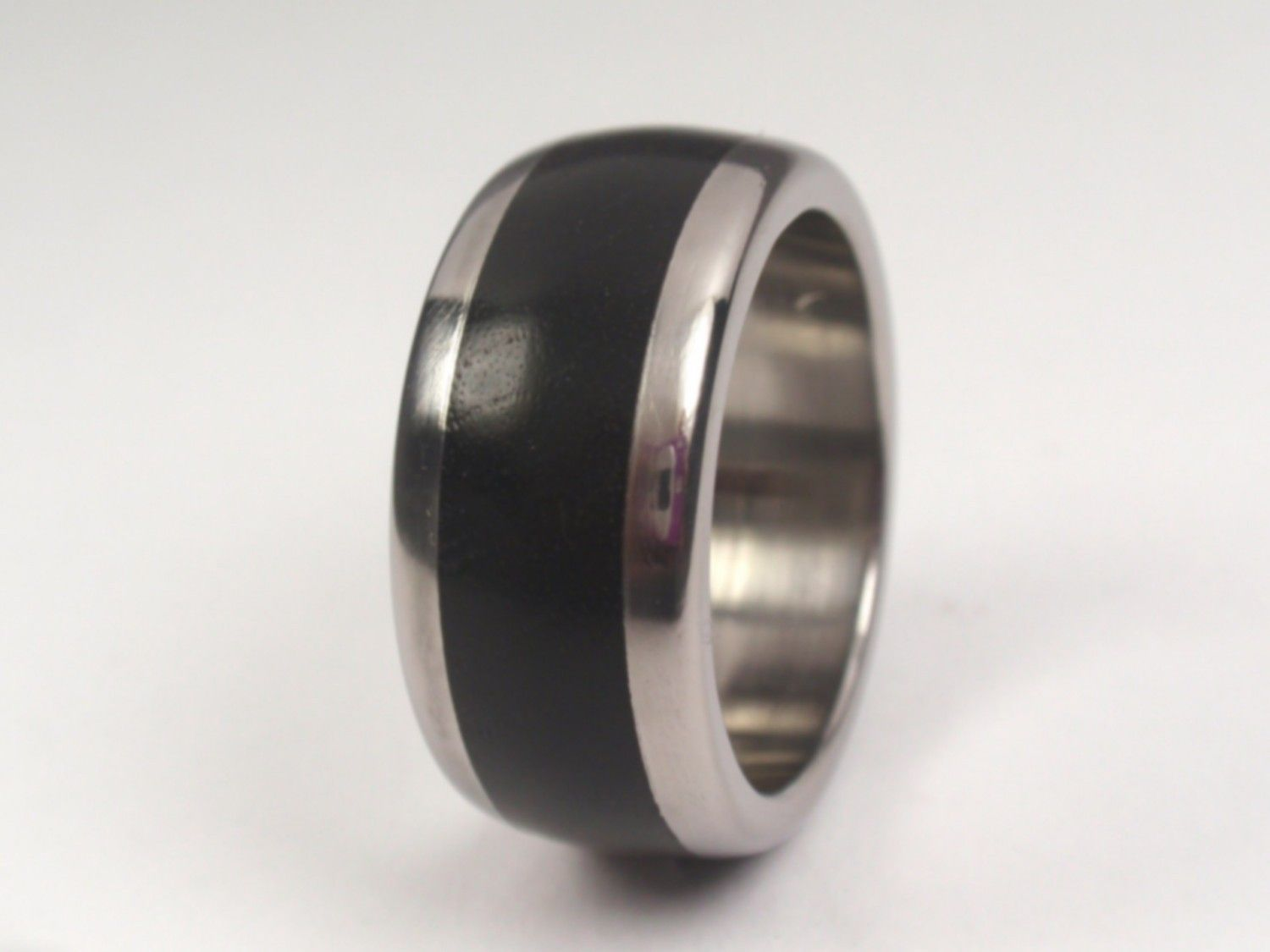 Titanium Ring With African Black Wood Inlay Wooden Wedding Band 16600 Via Etsy: African Wood Wedding Rings At Reisefeber.org