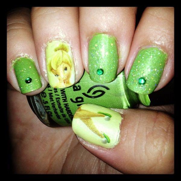 Tinkerbell nail art <3 @Tisha G G Bell   My stuff   Pinterest