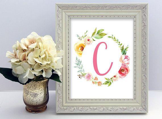 Monogram Letter C Printable Floral Monogram Letter C Printable