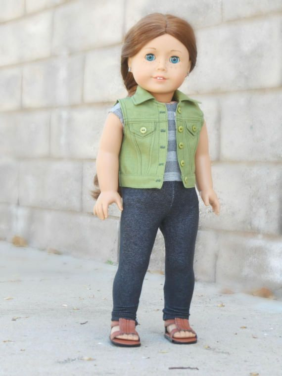 Green denim vest by KittykatWorkshop on Etsy. Made from a modified version of the Denim Jacket pattern, available at https://www.pixiefaire.com/products/denim-jacket-18-doll-clothes. #pixiefaire #denimjacket