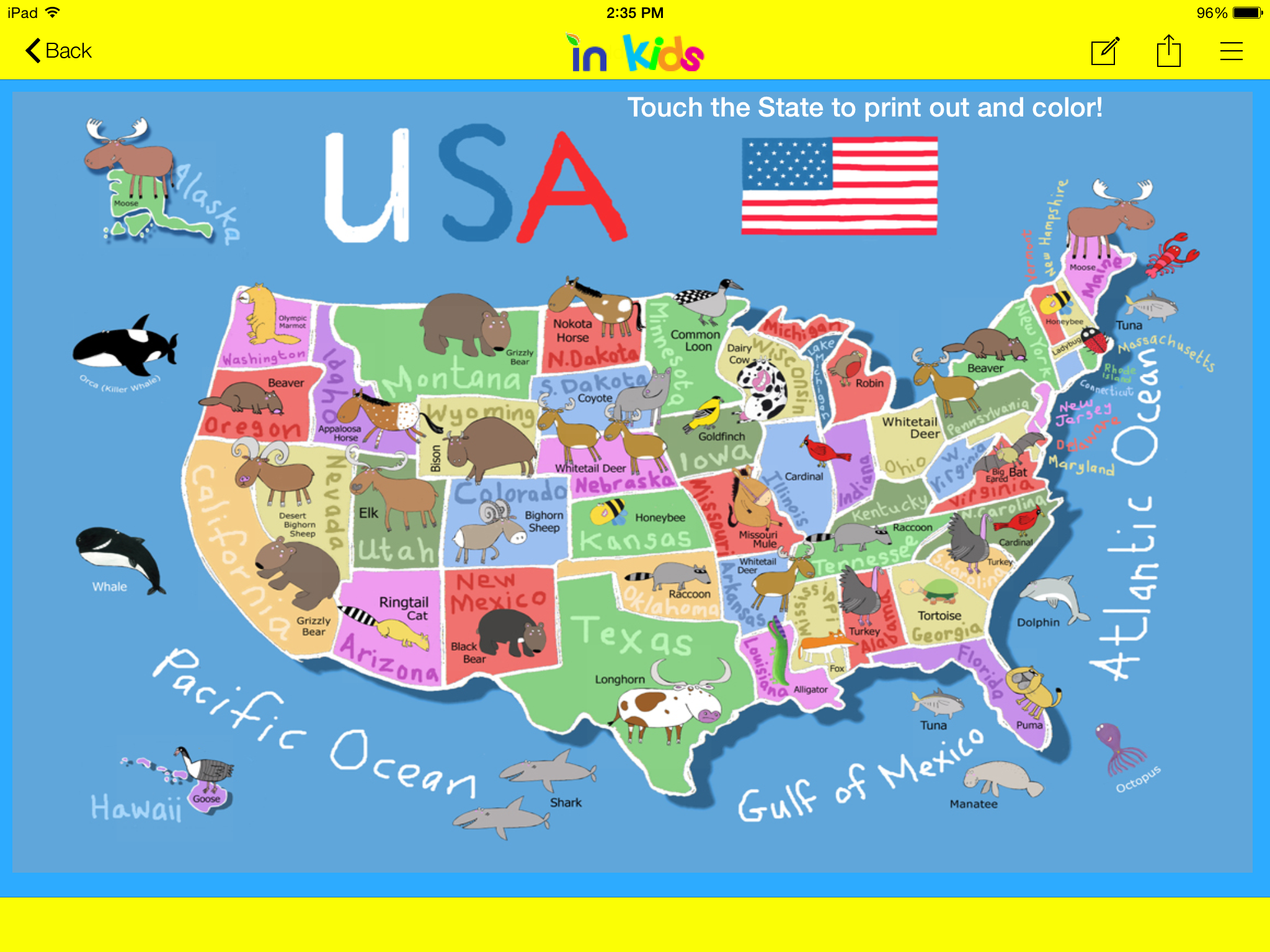 Example inBound Kids form US States map with print out and color