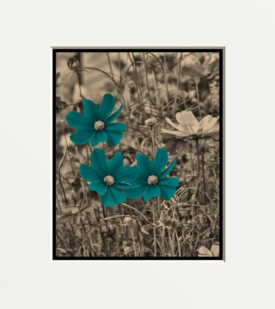 brown teal blue flowers wall art home decor picture brown framed art white wall art and teal. Black Bedroom Furniture Sets. Home Design Ideas