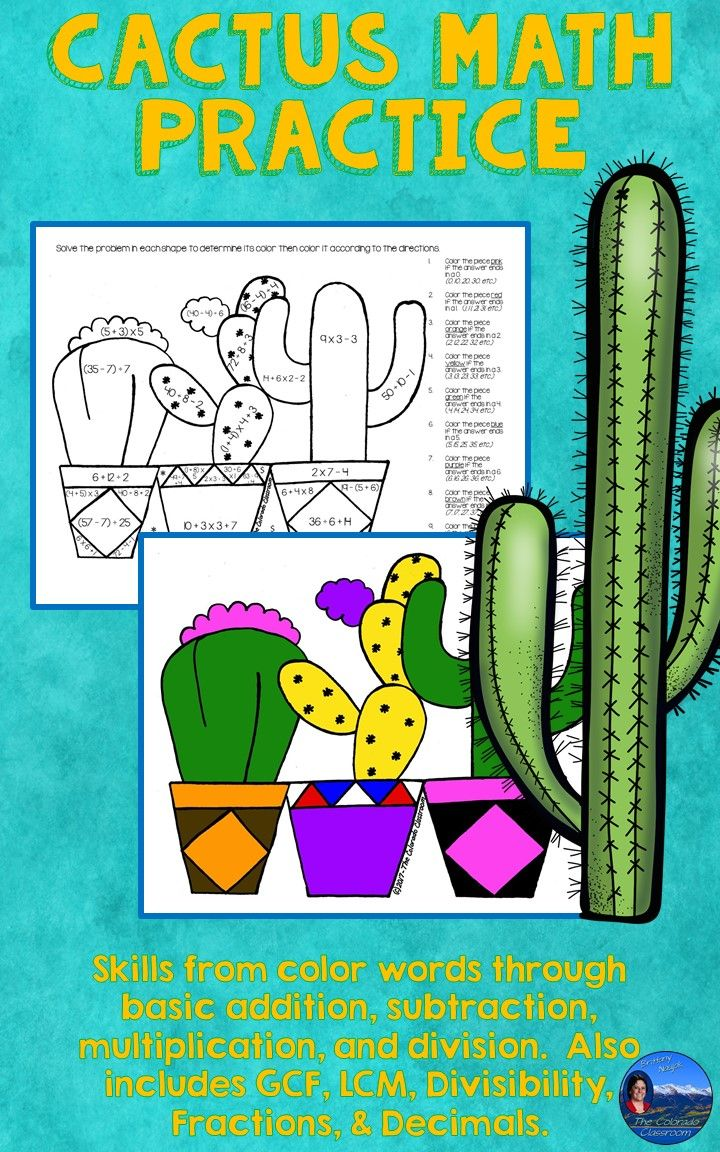Cactus Math Practice Color by Number Grades K-8 | Math skills, Math ...