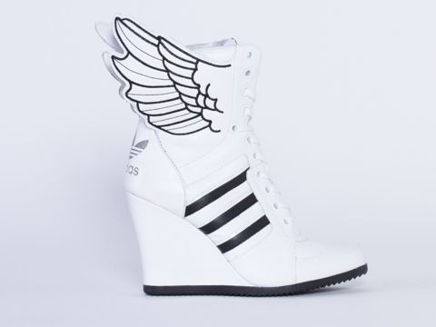 Adidas Originals X Jeremy Scott Wings Wedge Hi in White Black White at  Solestruck.com