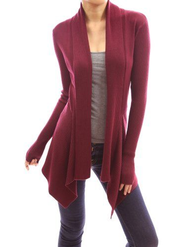 $49.99 nice PattyBoutik Ribbed Long Sleeve Cascading Asymmetric ...