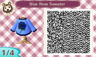 Blue Rose Sweater - Animal Crossing New Leaf QR Code. The rest of the codes are in the link.