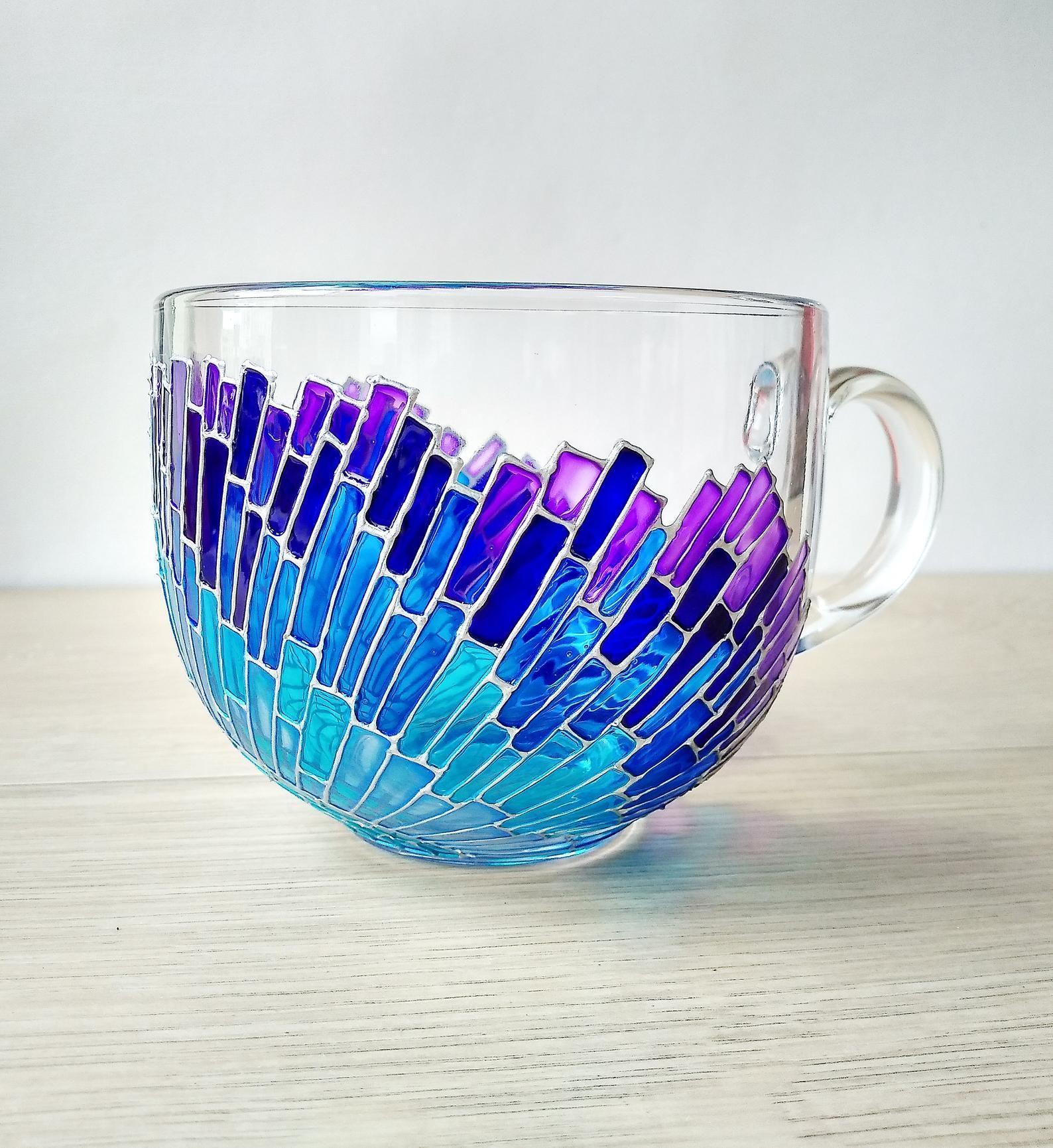 Blue mosaic mug, big painted mug, sun rays mug, blue