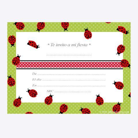 Modelos de tarjetas de invitación de mariquita - Imagui | fiesta ...