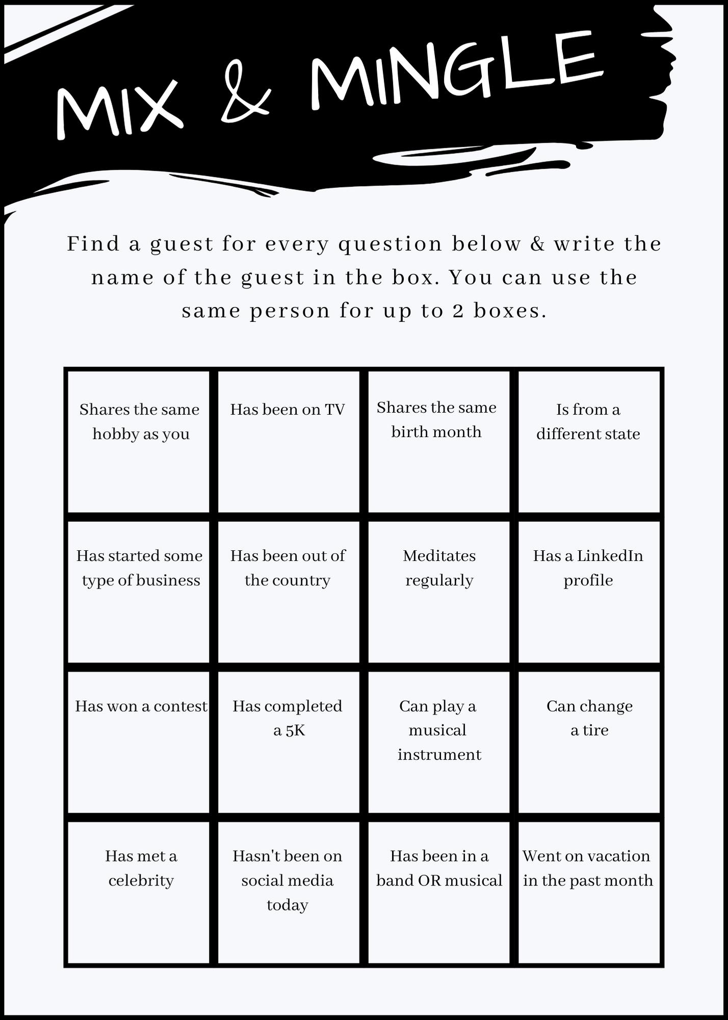 Confessions Of A Usy Mem Kad Vp Icebreaker Human Bingo Human Bingo Bingo Card Template People Bingo