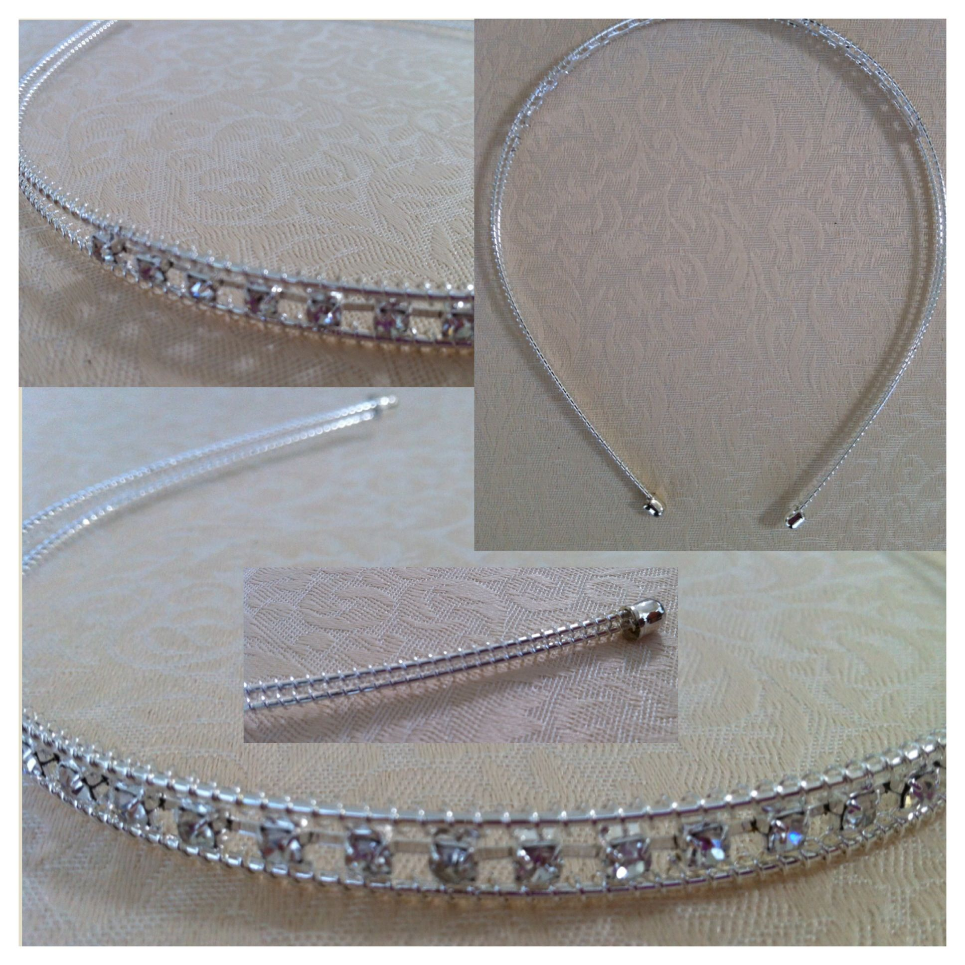 Silver wire/metal headband with rhinestone 'bling' - AUD$6.95 + postage or local pick up available.
