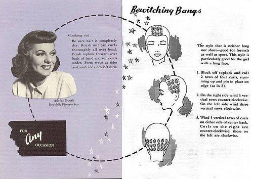 Pin Curl Diagram Ear Worksheet Vintage Setting Patterns For Bangs A
