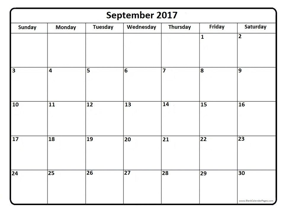 September  Printable Calendar Page  It Works