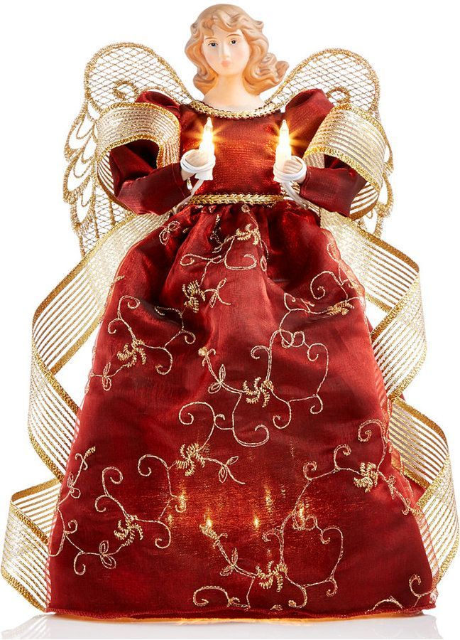 Holiday Lane Burgundy Light Up Angel Tree Topper, Created for Macy's | Tree toppers, Christmas ...