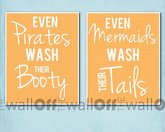 This would be so cute for kids bathroom! Etsy listing at https://www.etsy.com/listing/127449376/pirate-mermaid-bathroom-art-prints-set
