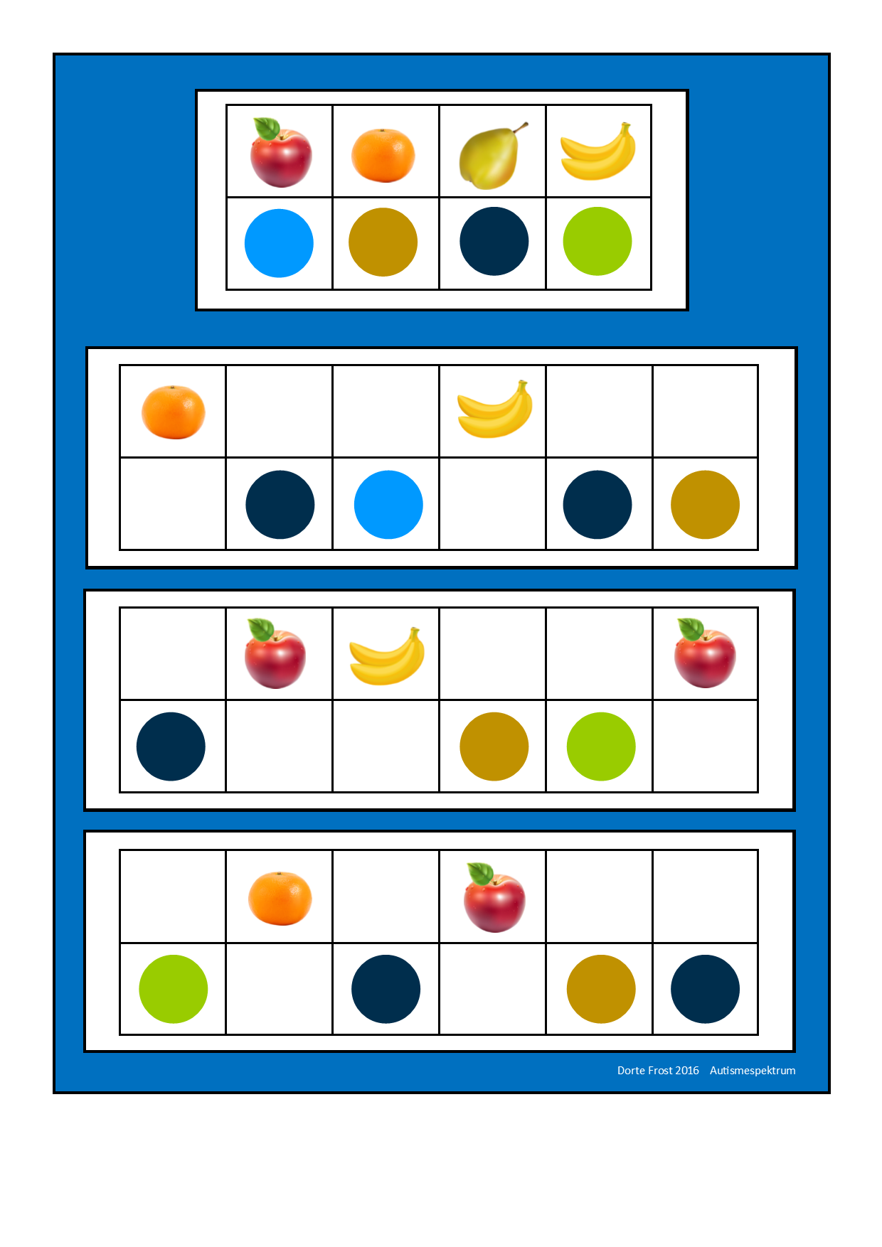 Board1 For The Fruit Visual Perception Game Find The Belonging Tiles On Autismespektrum On