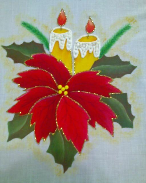 Pintura en tela a mano manteles e individuales pintados a - Manteles de navidad ...