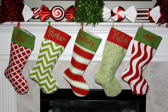 PERSONALIZED CHRISTMAS STOCKINGS by Sweetlittlethings4u on Etsy-Cute
