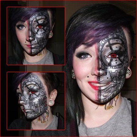 Half Robot Face by Brett MacCulloch http://www.makeupbee ...