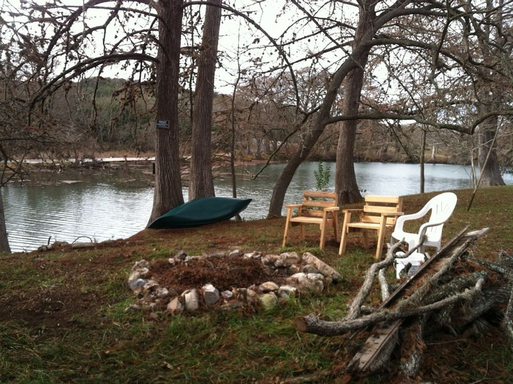 Fire pit and canoe available on guadalupe guadalupe