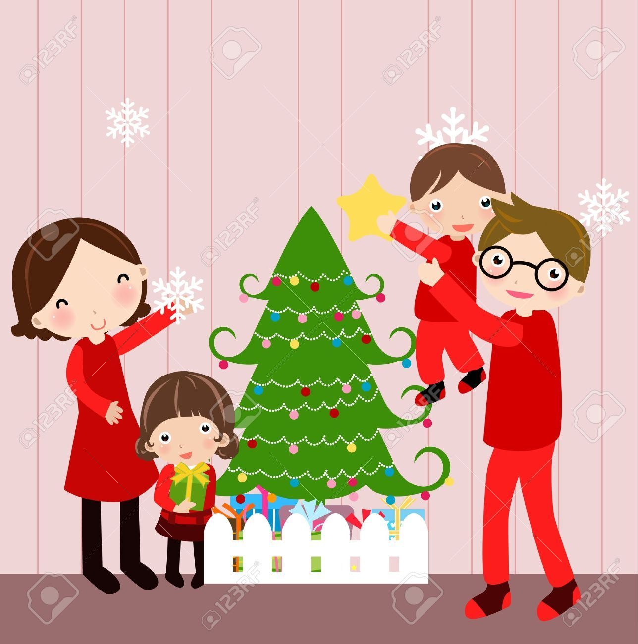 Illustration Of Happy Family At Christmas Reindeer Christmas Cards Christmas Crafts For Kids Christmas Cards