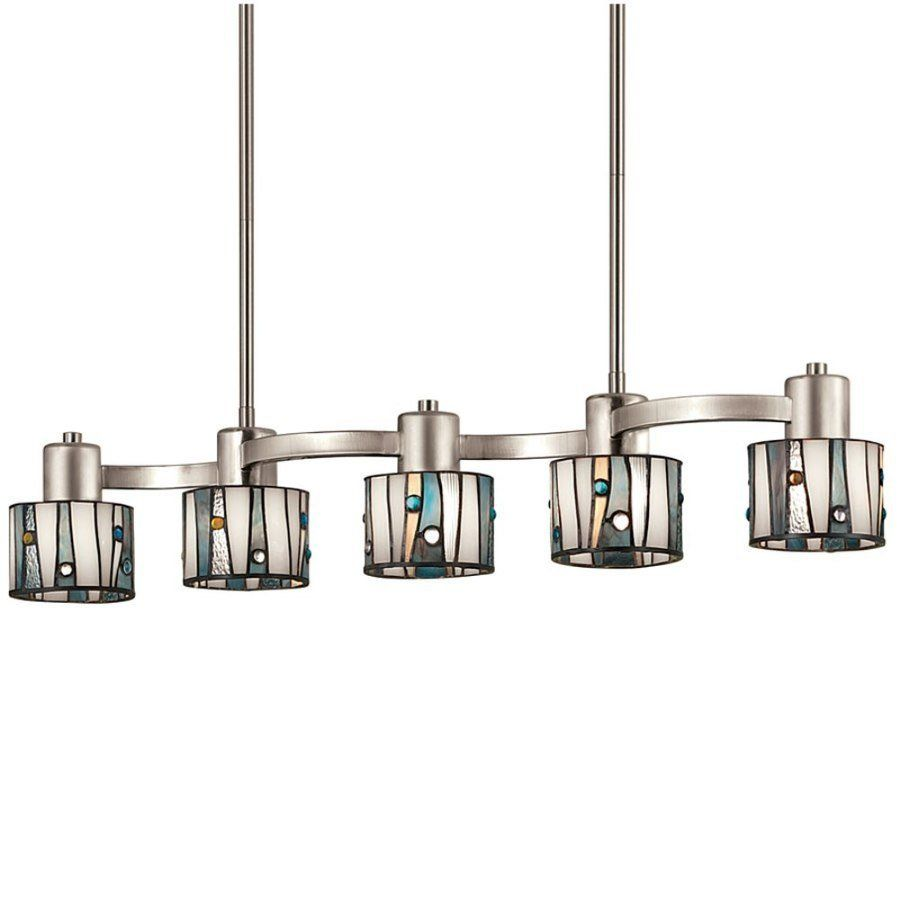 Tiffany Kitchen Lighting Portfolio 5 Light Brushed Nickel Island Light With Tiffany Style