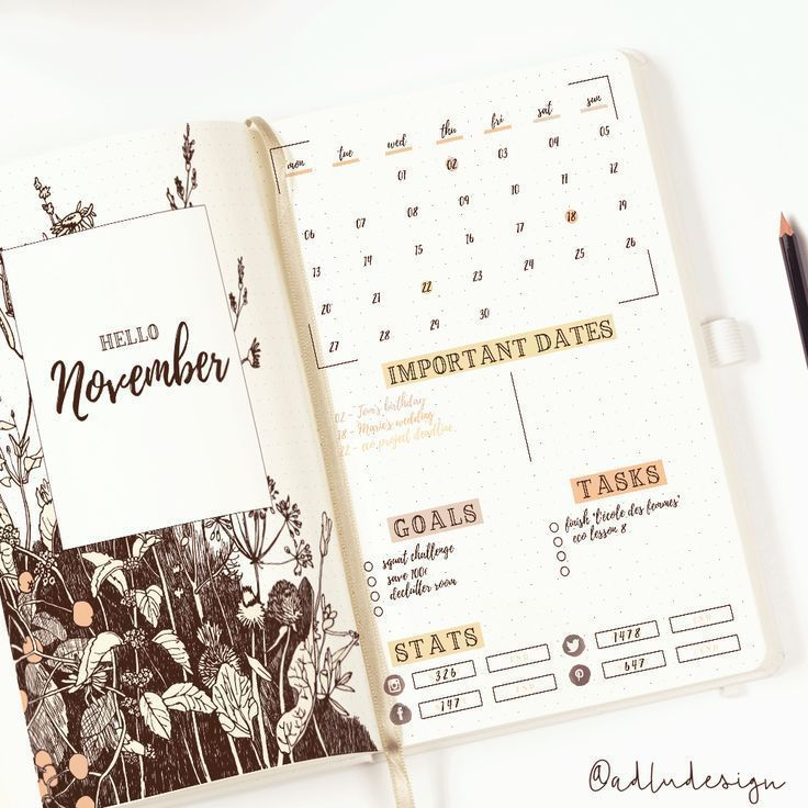 Wild Flowers Monthly Log Printable for Bullet Journal, Monthly Layout Spread, Goals Tasks List and Social Stats, PDF
