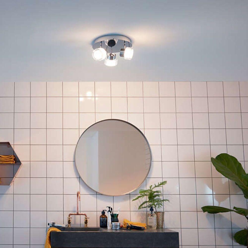 Led Deckenleuchte Resort Chrom 3 Flammig Ip44 Schwenkbar Led Deckenleuchte Led Runde Badezimmerspiegel