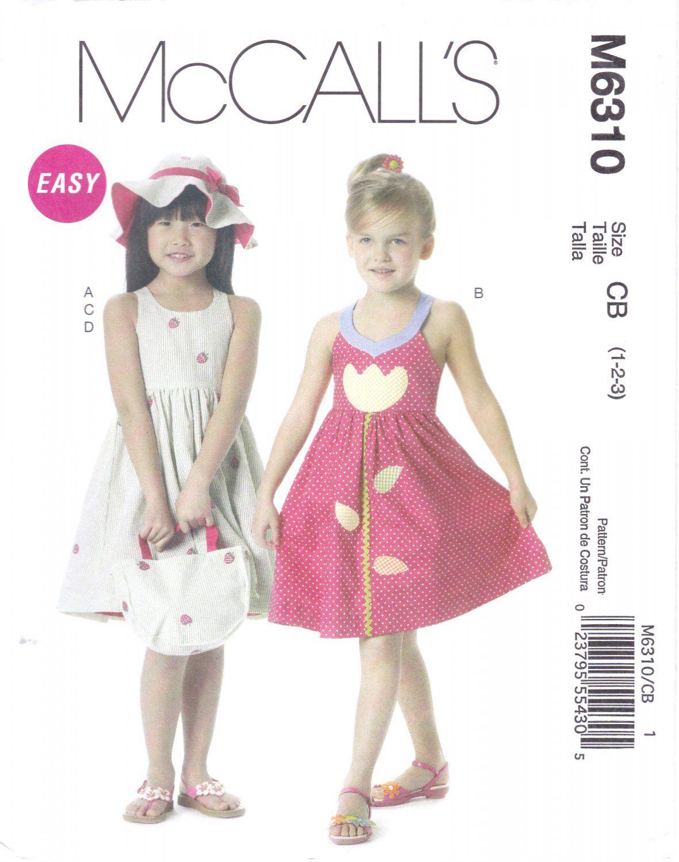 McCall\'s 6310 M6310 Toddler Girls Sewing Pattern Sundress Hat ...