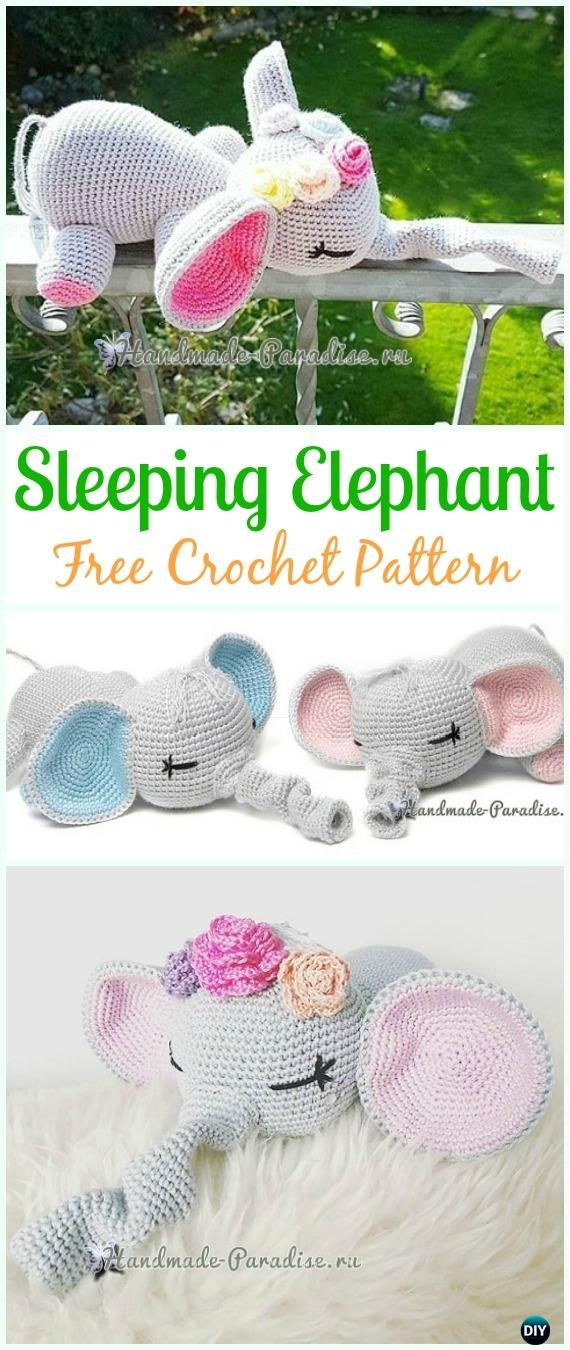 Crochet Sleeping Elephant Amigurumi Free Pattern - #Crochet ...