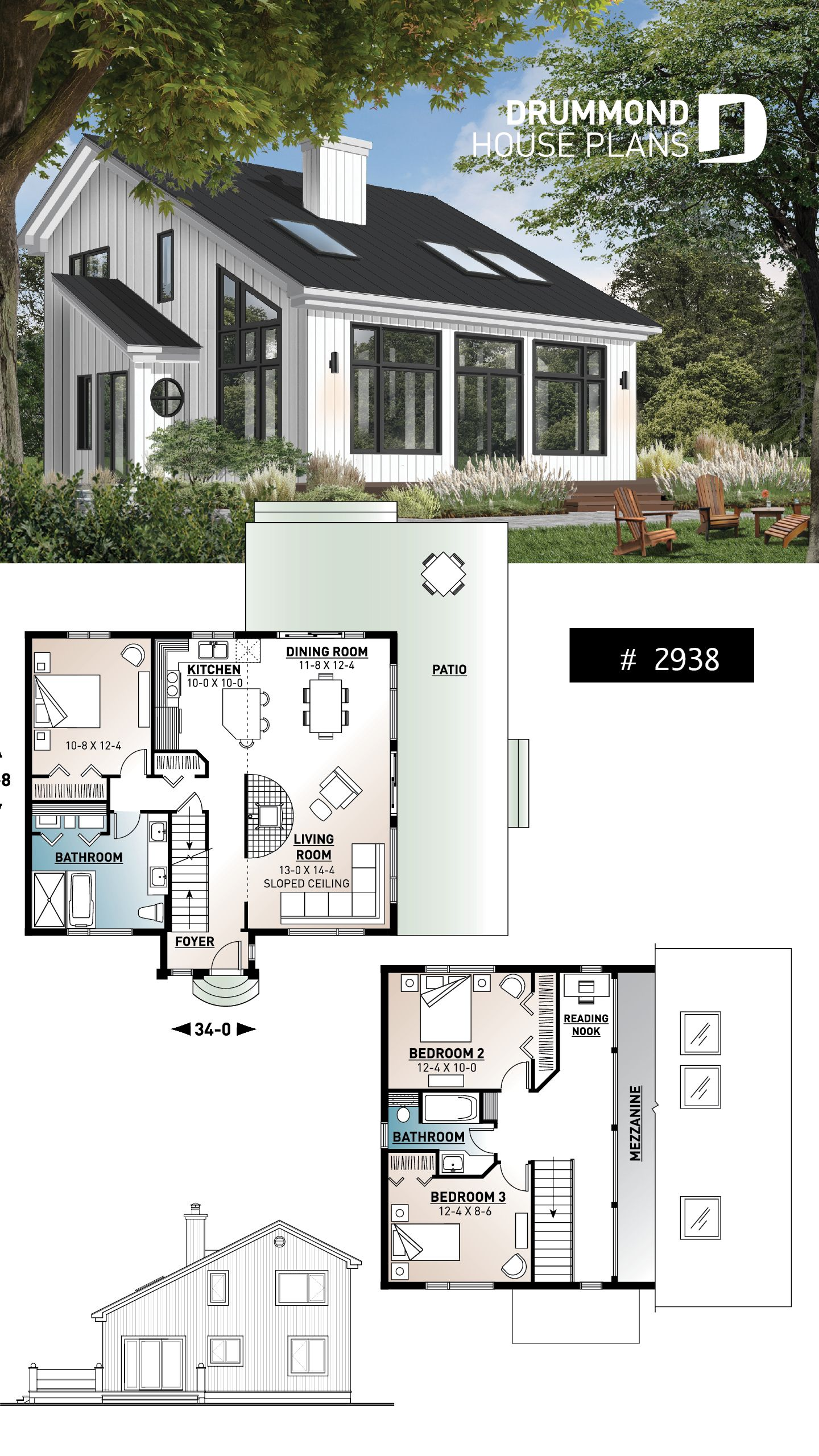 Discover The Plan 2938 Ataglance Which Will Please You For Its 3 Bedrooms And For Its Cottage Chalet Cabin Styles Cottage Plan Cottage House Plans Sims House Plans