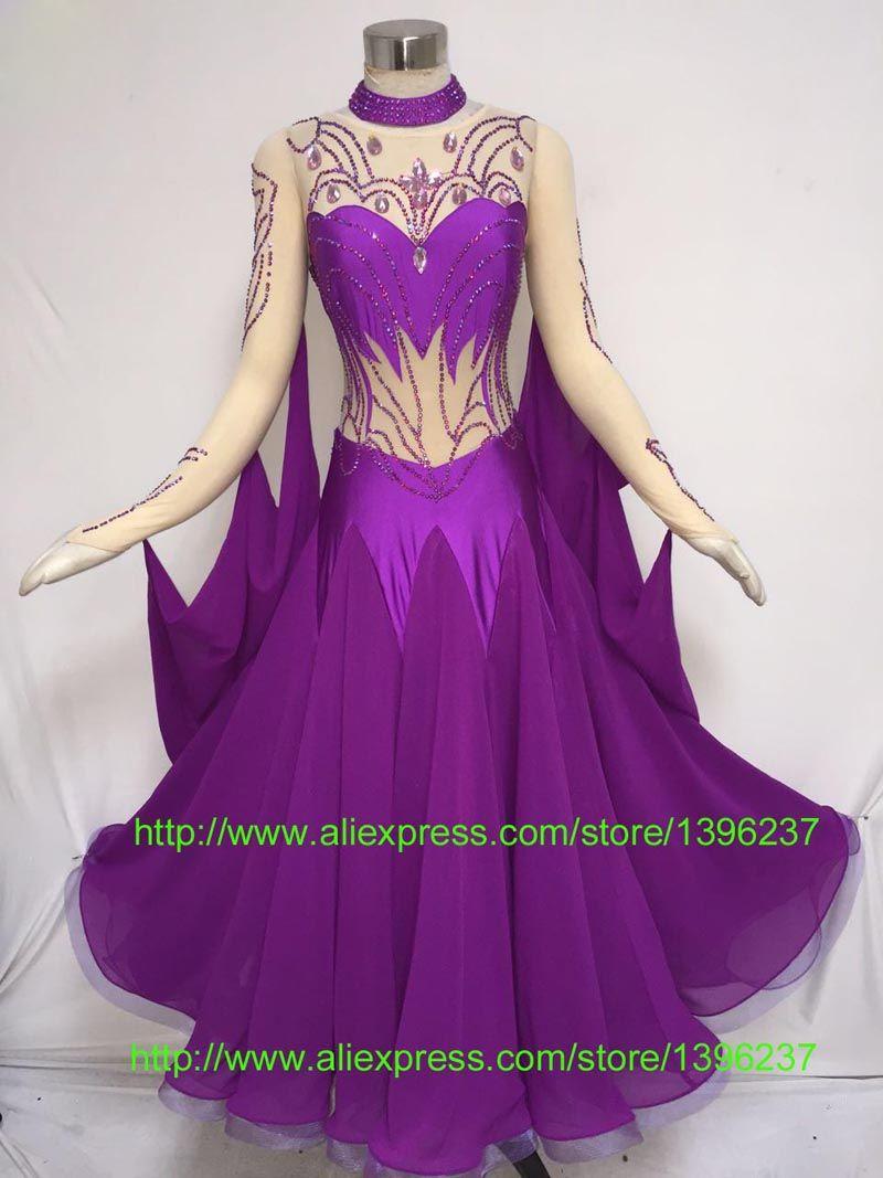 da5ac871e5 Ballroom Dance Competition Dress Women New Design Purple Waltz Flamenco  Dancing Skirt Adult Standard Ballroom Dress