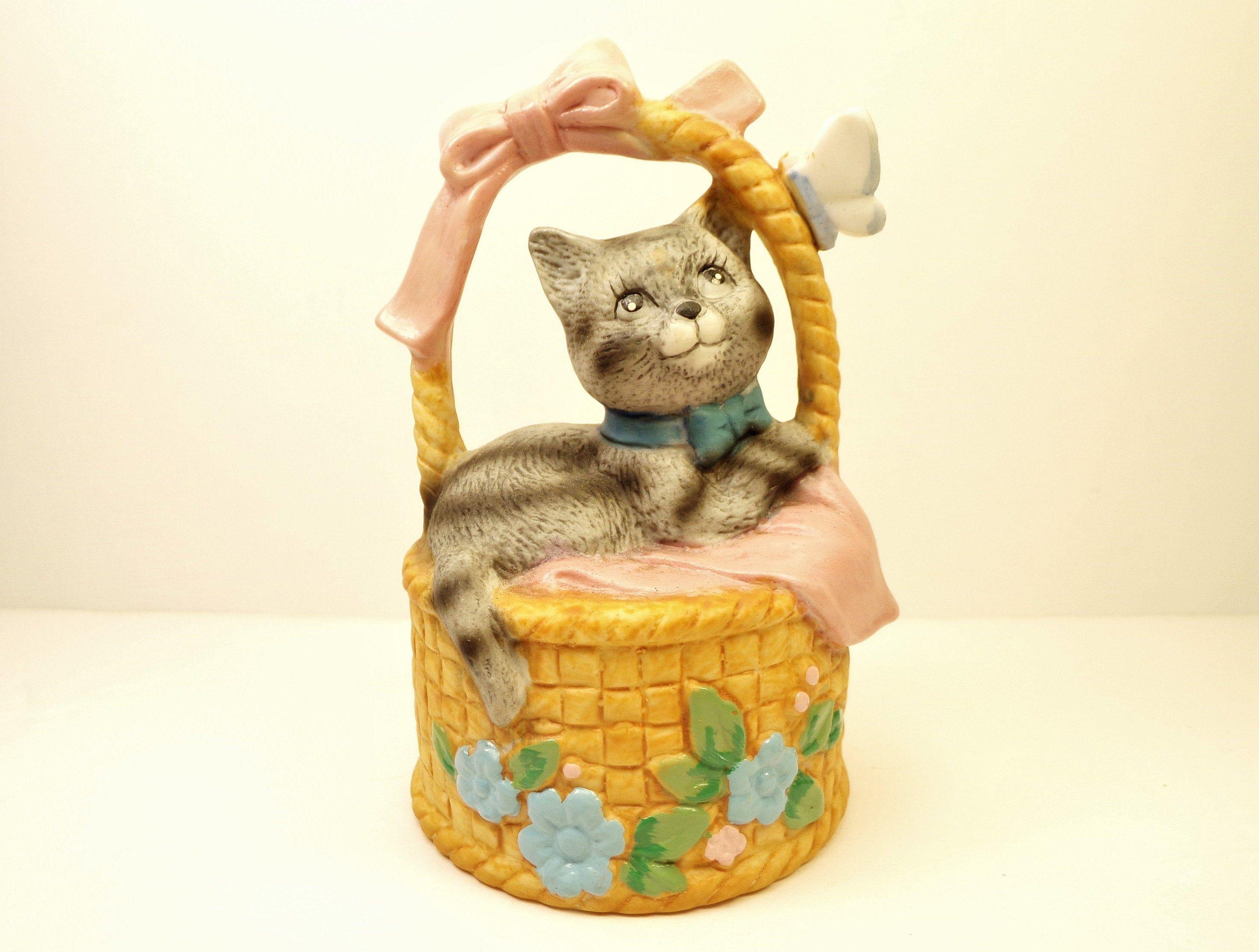 J S N Y Porcelain CollectABell Adorable Vintage Basket