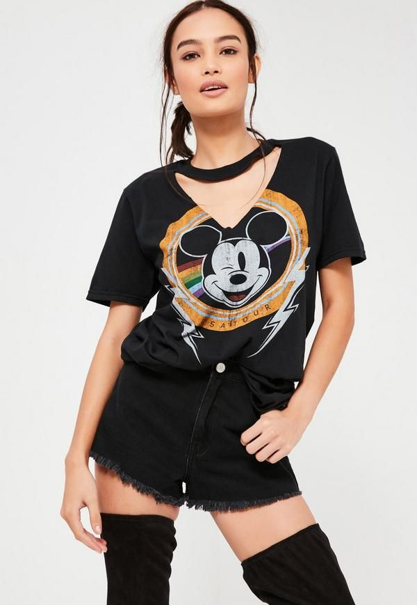 2d083159238 Black Mickey Mouse V Neck Cut Out T Shirt