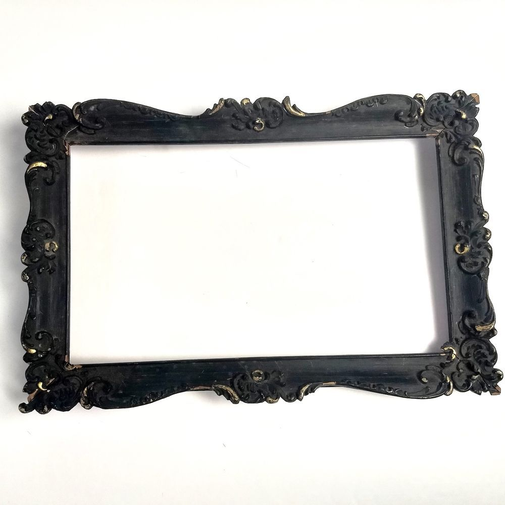 Vintage Victorian Solid Wood Ornate Picture Frame Fits 10 X 6 Black Gold Victorian Ornate Picture Frames Frame Picture Frames