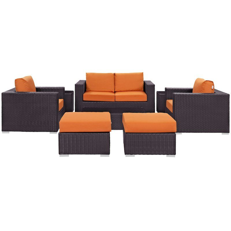 Modway Convene Wicker 8 Piece Sofa Patio Conversation Set Orange - EEI-2159-EXP-ORA-SET